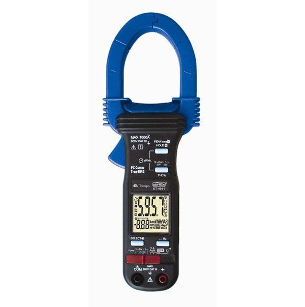 Alicate Wat Trif  CAT III TRMS, KWh, THD%, USB - Minipa - ET-4091