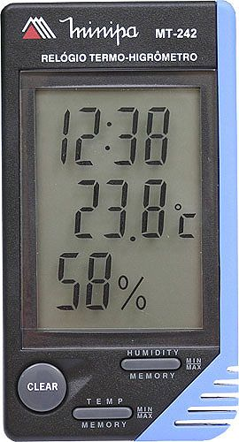 Termo-Higrômetro-Relógio Máx/Mín (Temp Int) **** (DISPONÍVEL APENAS UMA PEÇA)  ***** Minipa - MT-242