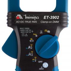 ALICATE AMPERÍMETRO TRUE RMS 1000AAC/CC CAT IV MINIPA ET-3902