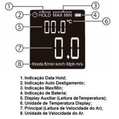 Mini Termo-Anemômetro, Display Colorido - Hikari - HDA-910